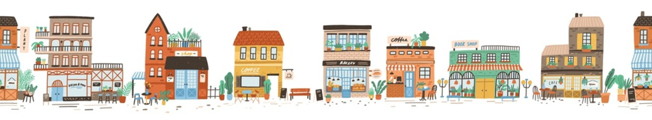 Urban landscape or view of European city street with stores, shops, sidewalk cafe, restaurant, bakery, coffee house. Seamless banner with building facades. Flat vector illustration in cute style. Wall mural