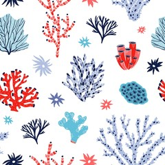 Wall Mural - Seamless pattern with red and blue corals and seaweed or algae on white background. Backdrop with tropical aquatic creatures, undersea flora and fauna, sea or ocean life. Flat vector illustration.