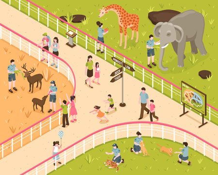 Animal Park Isometric Composition