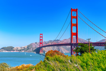 Panorama of the Gold Gate Bridge and the other side of the bay. San Francisco. Fototapete