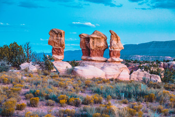 Wall Mural - Hoodoos sandstone formations in Devil's Garden at twilight, Escalante, Utah