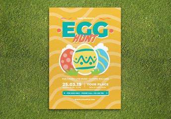 Easter Flyer Layout with Multicolored Egg Illustrations