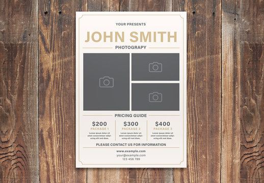 Photography Flyer Layout with Photo Placeholders
