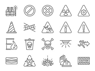 Obraz Alert line icon set. Included icons as warning, caution, danger, alarm, notice and more. - fototapety do salonu