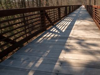 Wood and metal footbridge in forest