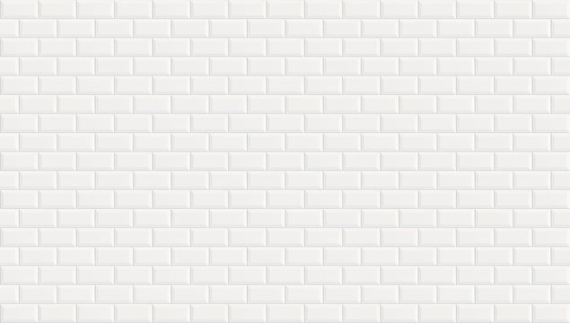White ceramic wall tiles texture background. Classic white metro tile. Panoramic picture.