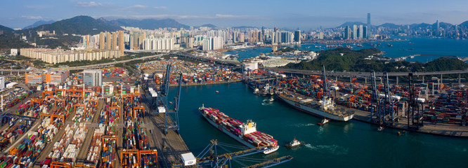 Hong Kong container port Fotomurales