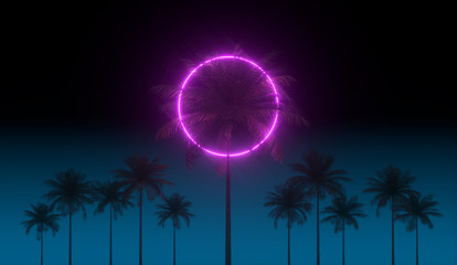 3D vaporwave render background with neon circle, palms and night blue sky. Synthwave 1980s rentowave illustration.