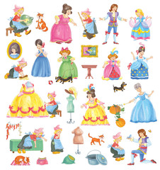 Cinderella. Fairy tale. Coloring book. Coloring page. Set of cute cartoon characters isolated on white background