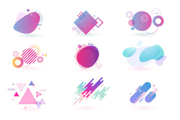 Set of abstract graphic design elements. Vector illustrations for logo design, website development, flyer and presentation, background, cover design, isolated on white. Fotobehang