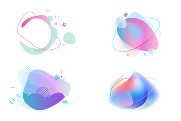 Wall Mural - Set of abstract graphic design elements. Vector illustrations for logo design, website development, flyer and presentation, background, cover design, isolated on white.