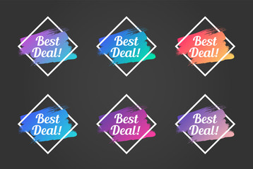 best deal color promo phrase. best deal stock vector illustrations with painted gradient brush strokes over rhombus frames for advertising labels, stickers, banners, leaflets, badges, tags, posters