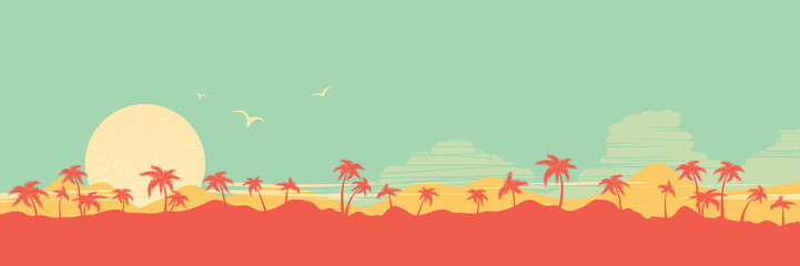 Tropical island paradise background with palms silhouette and sky Wall mural