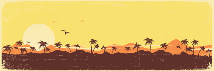 Tropical island paradise vintage background with palms silhouette on old paper texture