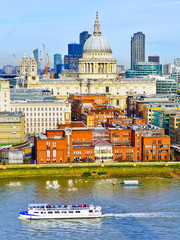 Garden Poster Havana View of London skyline with River Thames on a cloudy day.
