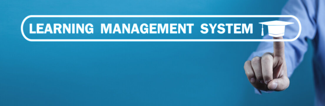 Learning Management System with Graduation Cap.