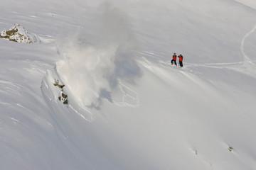 Kirkwood Mountain Resort, California: Members of the mountain resort's ski patrol team survey the mountain on a clear day in Kirkwood, California.