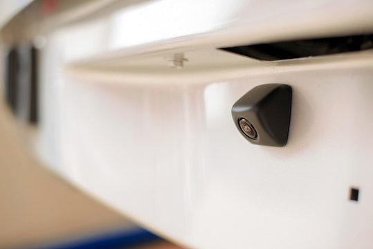 Selective focus of rear view camera/Car rear camera/Car parking camera,copy space.