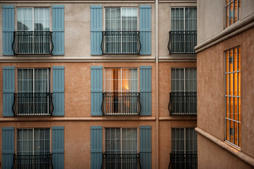 Exterior view of hotel windows.
