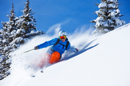 Man skiing in powder snow