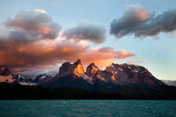 Iconic scene of Torres del Paine National Park at sunrise, Chile
