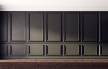 Black empty room with old wooden floor. Classic interior design.  Wall mural