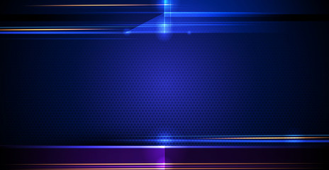 Illustration of abstract red, blue and black metallic with light ray and glossy line. Metal frame design gradient color for background. Vector design modern digital technology concept