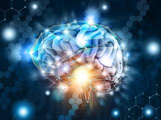 Artificial intelligence,  processing neurological data, brain, cloud Wall mural