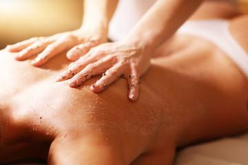 Fototapeta Happy woman having peeling in spa salon obraz