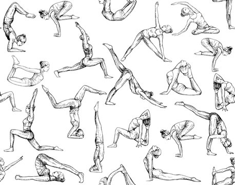 Seamless pattern of hand drawn sketch style abstract people doing yoga isolated on white background. Vector illustration.