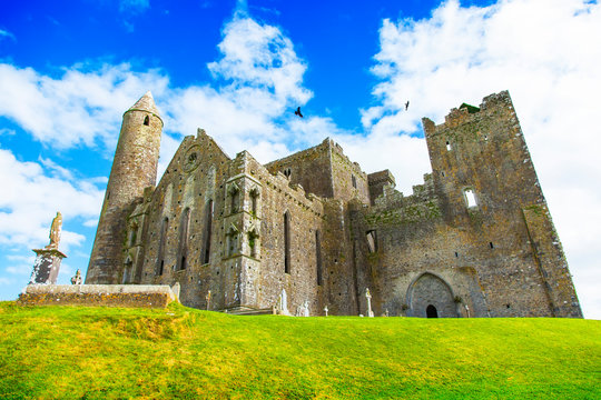 Old gothic Irish castle, Rock of Cashel