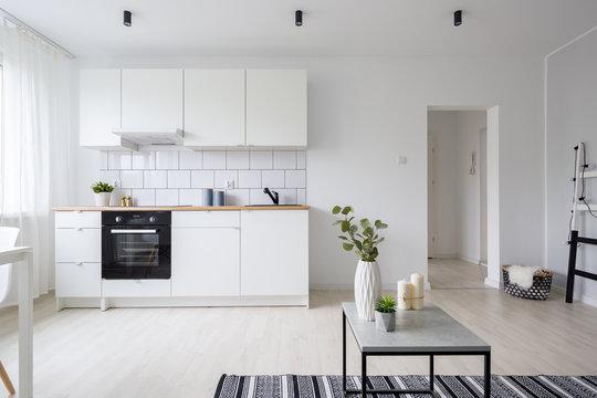 Modern studio apartment with kitchenette