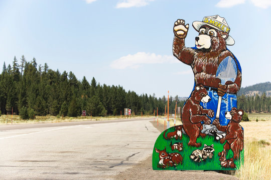 Smokey the Bear sign along Highway 365, Owens River Valley, California, USA.