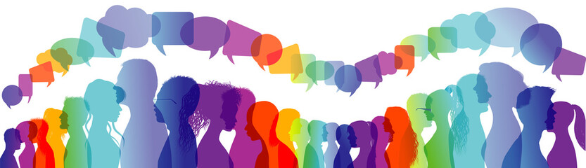 Dialogue group of people. Crowd talking. Communication between people. Silhouette profiles. Rainbow colours. Speech bubble