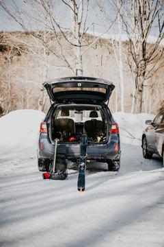 Backcountry skiers car full of gear, Pinkham Notch, New Hampshire, USA