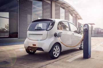 3D Rendering von Elektroauto oder Elektrofahrzeug an Ladesäule einer Stromtankstelle lädt Batterie mit Kabel für ökologische Reichweite und nutzt nachhaltige Energie Wall mural
