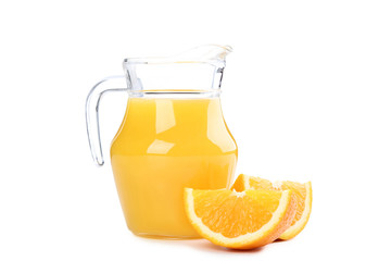Wall Mural - Orange fruit and jug of juice isolated on white background