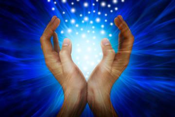 Hands with power rays - fototapety na wymiar