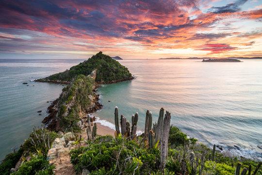 View from Ponta do Pai Vitorio during sunrise in Rasa Beach, Armacao dos Buzios, Rio de Janeiro state, Brazil