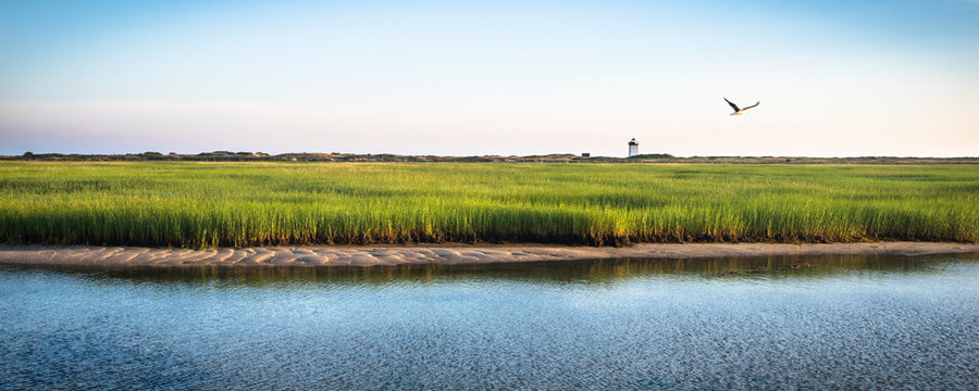 Distant View Of Wood End Light On The Cape Cod Outside Provincetown, Massachusetts, Usa