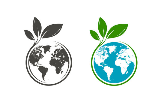 Green leafs and globe logo. Eco, natural, organic icon or symbol. Vector