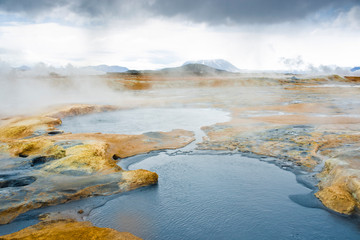 Boiling Mud Pits In Hverir, Iceland