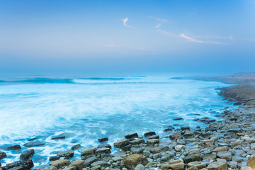View of sea and stony beach, Boilers Point, Tamri, Morocco