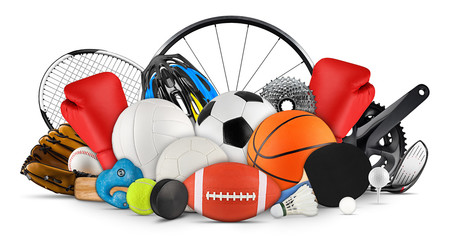 huge collection stack of sport goods and balls gear bicycle wheel equipment from various sports isolated white background