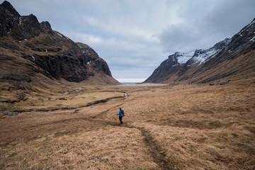 Female hiker, Moskenes, Lofoten Islands, Norway