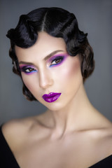 1920 1930 stylization beauty portrait of a young girl of the modern era hairstyle Finger wave make-up color smooky eseys i vinil lips