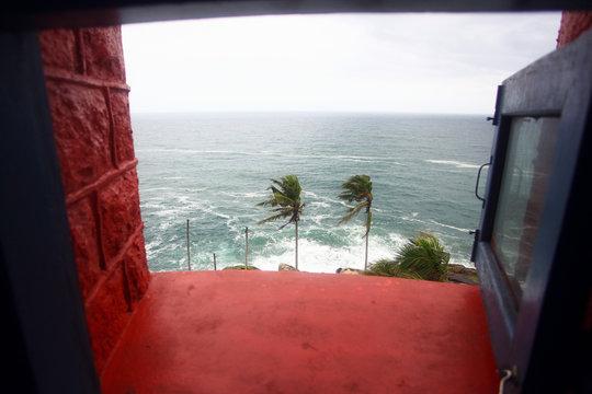 View from window of lighthouse, Vizhinjam, Kerala, India