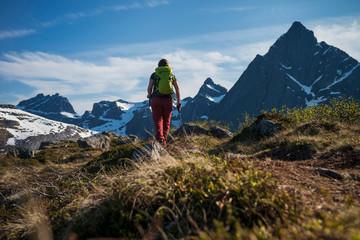 Female hiker facing mountain range