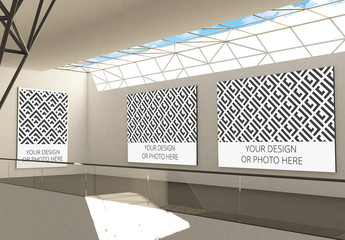 Exhibition Gallery Mockup with 3 Image Placeholders