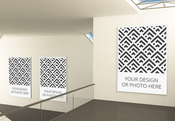Exhibition Gallery Mockup with 3 Vertical Image Placeholders